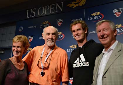 Andy Murray poses with Judy Murray, Sir Alex Ferguson, and Sir Sean Connery