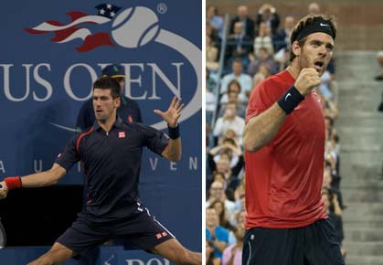 Novak Djokovic and Juan Martin del Potro faced off in the last men's quarterfinal at the 2012 U.S. Open