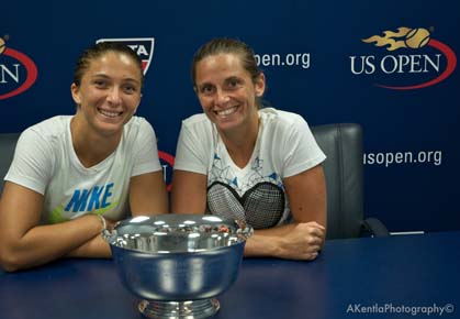 Sara Errani and Roberta Vinci pose with their 2012 U.S. Open Women's Doubles Trophy