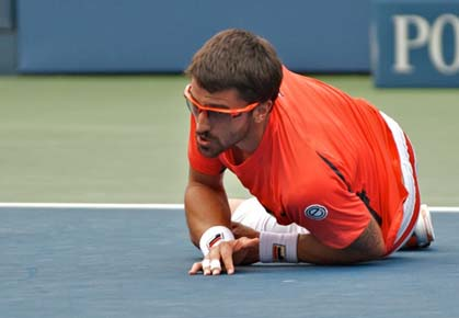 A fall in the fifth set might have cost Janko Tipsarevic a trip to the 2012 U.S. Open men's semifinals
