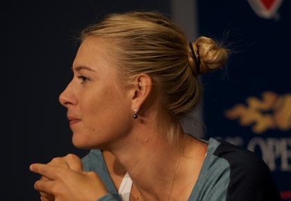 Maria Sharapova speaks to press after her 2nd round win at the 2012 US Open