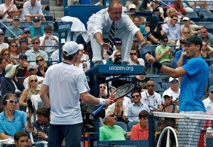 Andy Murray and Tomas Berdych argue over a let call at the 2012 US Open