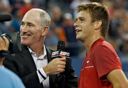 Ryan Harrison speaks to Brad Gilbert after his first-round win at the 2012 US Open
