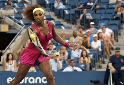 Serena Williams wins her 2012 US Open semifinal match against Sara Errani