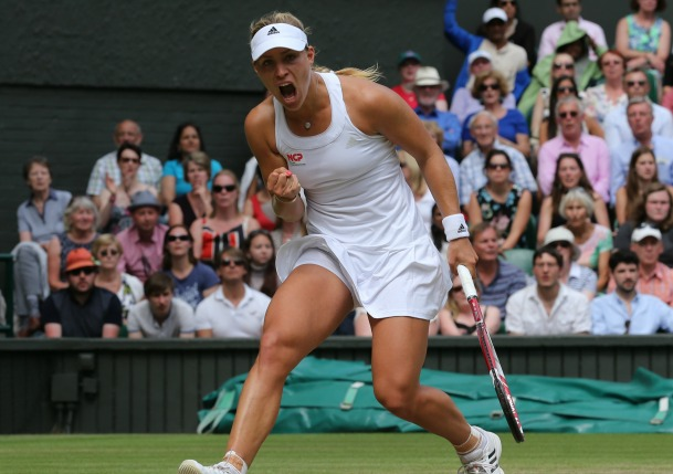 On Her Seventh Match Point, Kerber Knocks off Sharapova