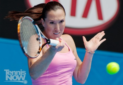 Serbia's Jelena Jankovic hits a forehand at the 2011 Australian Open.