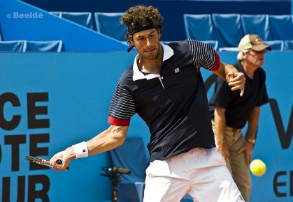 Robin Haase of the Netherlands hits a forehand during the 2011 Open de Nice Cote d'Azur.