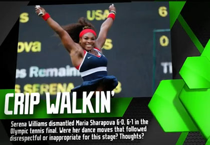 Serena Williams Celebrates her 2012 Summer Games GOld Medal in Tennis