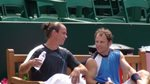 Mike Russell and Xavier Malisse bench