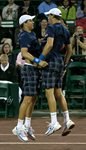 2010 US Men's Clay Court Championship Houston Bryan Brothers Chest Bump