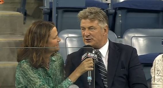 Video: Alec Baldwin Catches Stray Tennis Ball off Maria Kirilenko's Racquet at US Open