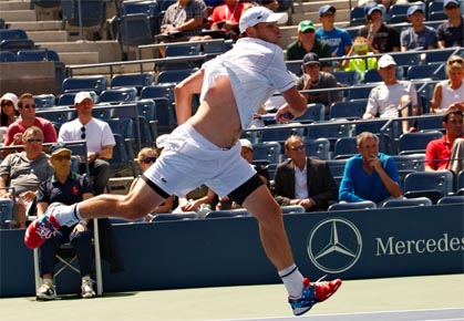 Andy Roddick plays in the first round of the 2012 US Open