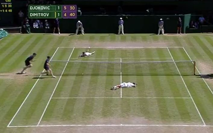 Video: Djokovic and Dimitrov Slip-Sliding Away During Wimbledon Semifinal