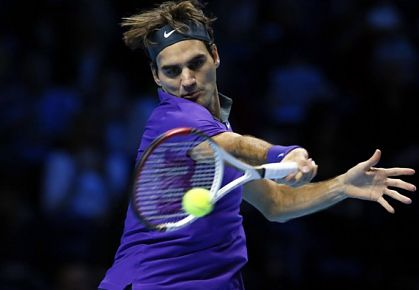 Roger Federer plays his opening match at the 2012 ATP World Tour Finals in London