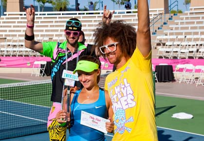 Lauren Davis wins the 2012 Party Rock Open. Posing with Redfoo and Tyler Weekes