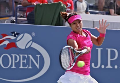 Li Na hits a groundstroke during the first round of the 2012 US Open