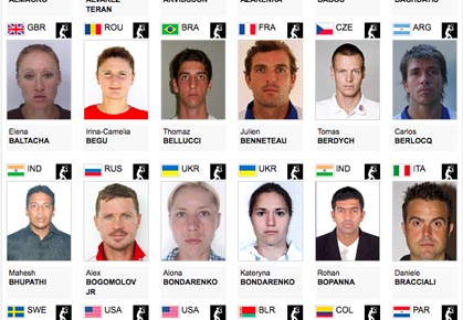 2012 Summer Olympics - Tennis Player headshots