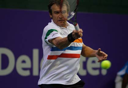 Mats Wilander plays in the Grand Champions Rio event in Brazil