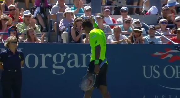 Video: Monfils Drinks Coke, Hits Flying Forehand
