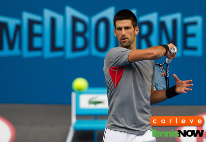 Djokovic practicing, 2013 Australian Open