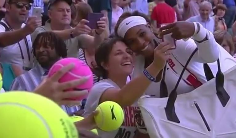 Video: A Really, Really Happy Fan Takes a Selfie with Serena Williams at Wimbledon