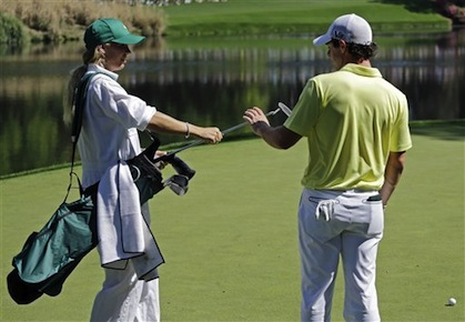 Wozniacki Caddies For Her Man at the Masters
