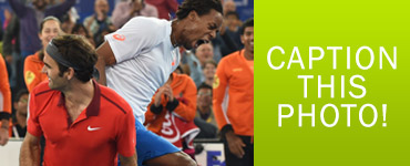 Federer and Monfils Caption