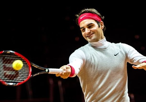 Roger Federer Practices in Lille ahead of Davis Cup