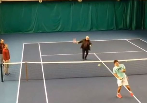Video: Roger Federer's Dad Takes His Son to the Woodshed