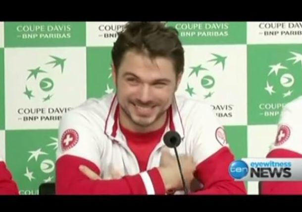 Video: Wawrinka, Federer Exchange Sweet Nothings During Davis Cup Presser
