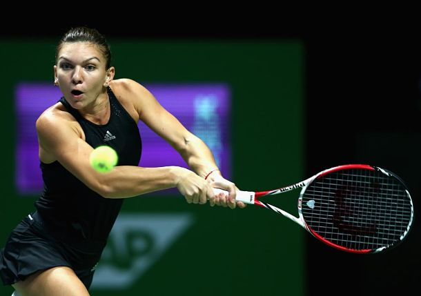Halep Steady, Bouchard Wobbly in Singapore Opener
