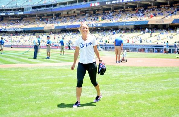 Wozniacki Throws Perfect Strike at Dodger Game