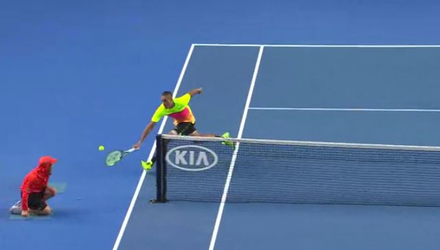 Video: Kyrgios Goes Around Net Post, Seppi Responds