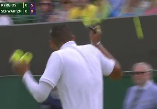 Video: Kyrgios Hits Linesman in Head With Soft Strike