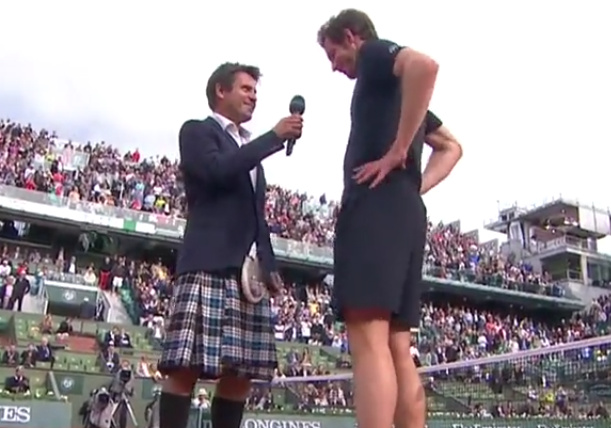 Video: Santoro Wears Kilt, Murray Cracks Up