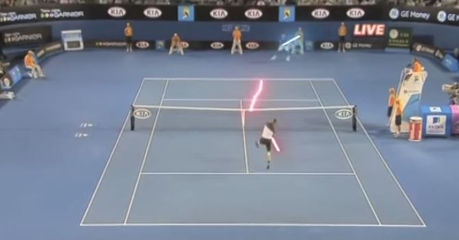 Video: Federer, Nadal Wielding Lightsabers?