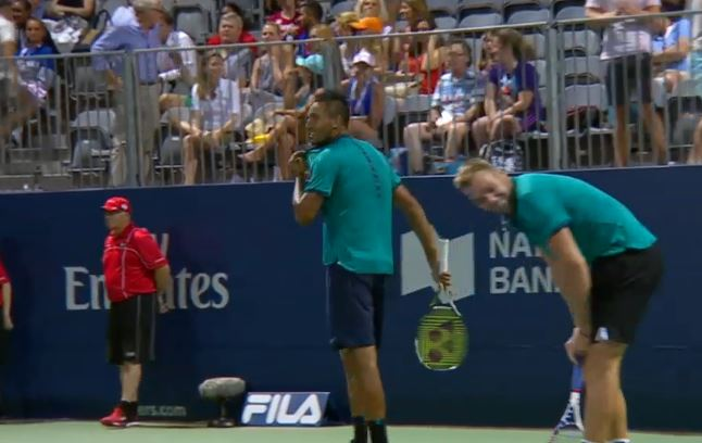 Watch: Sock's Awesome Reaction to Kyrgios 'Tweener