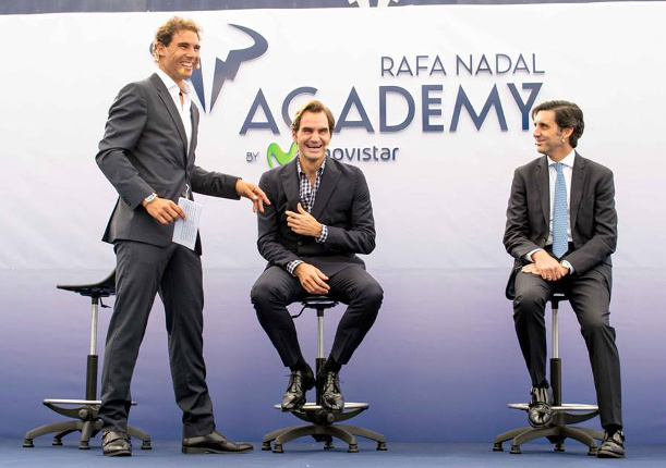 Roger and Rafa Reunite At Nadal's Academy