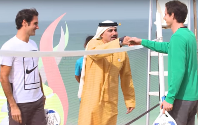 Watch: Federer, Murray Play Beach Ball, Share Draw