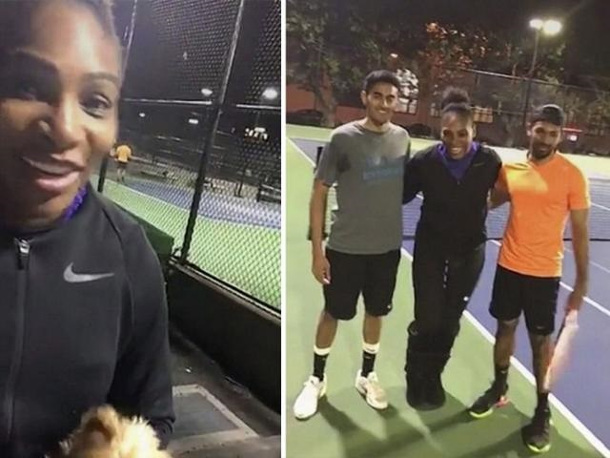 Serena Crashes Public Park Match