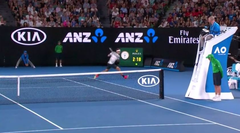 Federer Goes Around the Net Post for Outrageous Winner