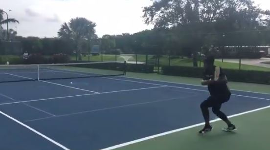 Serena Williams, Seven Months Pregnant, on the Practice Courts