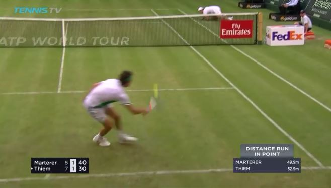 Thiem and Marterer play a dazzling point on Halle grass