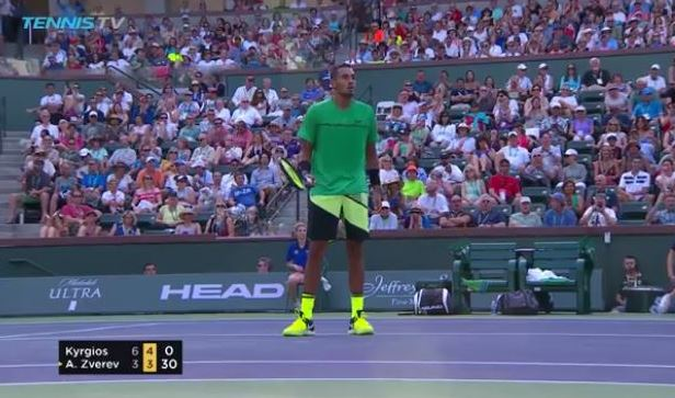 Watch: Kyrgios Lights it up with 'tweener-volley combo
