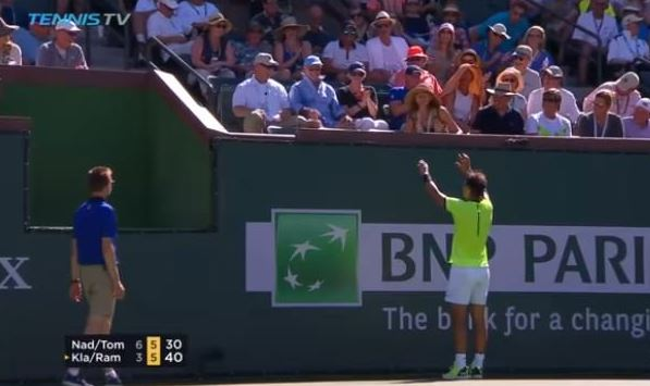 Watch: Nadal Throws up a Prayer and Gets some Laughs