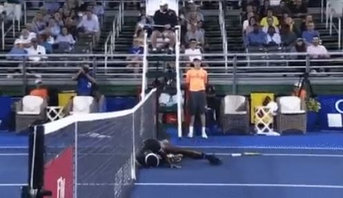 Watch: Tiafoe's Theatric Collapse After Bunk Call in Delray Beach