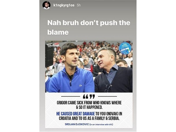 Kyrgios Calls Out Djokovic S Dad
